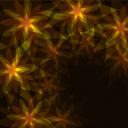 Floral abstract background golden - black with flowers lilies and decorative pattern  Greeting or invitation card in retro or grunge style Vector