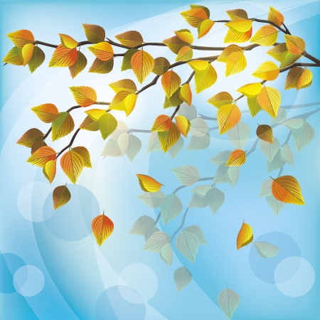 Autumn tree with yellow flying leaves, light nature background, place for text. Vector