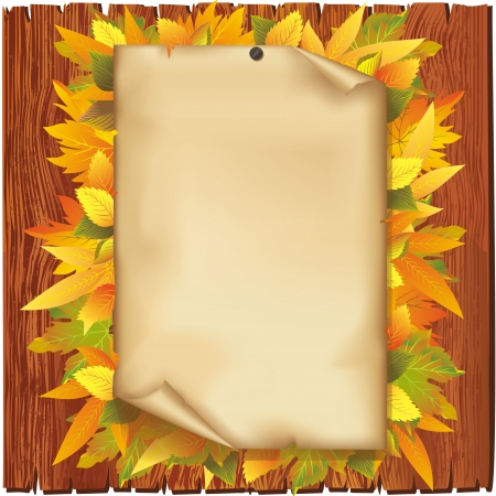 Autumn background. Old paper and yellow leaves on wooden board isolated over white Illustration