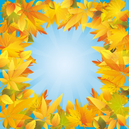 Autumn leaves frame, beautiful light nature background. Place for text Vector