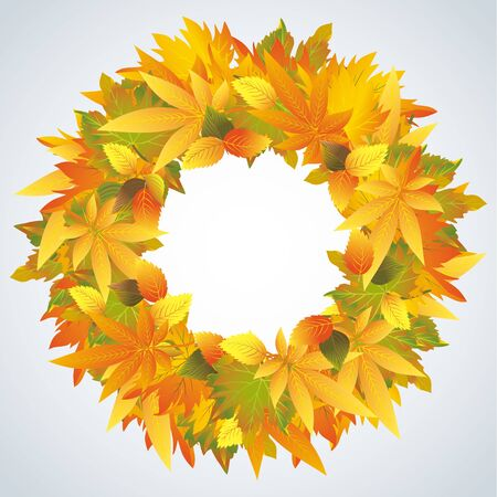 Autumn leaves wreath isolated, beautiful nature frame Vector