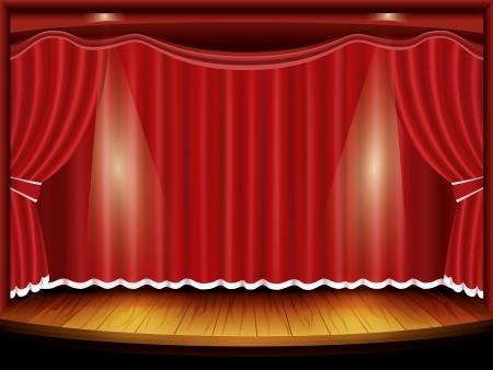 b�hnenvorhang: Theater B�hne mit rotem Vorhang und Rampenlicht