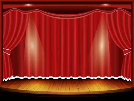 theaters: Theater stage with red curtain and spotlight