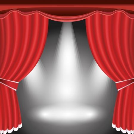 Estágio do teatro com cortina vermelha aberta e três ilustração holofotes