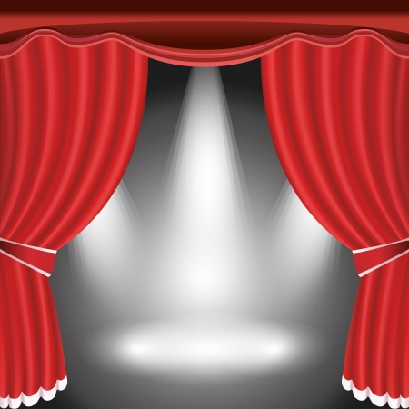 red curtain: Theater stage with open red curtain and three spotlight  illustration