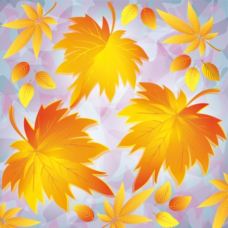 Autumn background with yellow leaves - place for text, nature background in grunge style. illustration. Vector