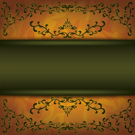 Luxury background golden-dark green with decorative ornament in vintage or grunge style, place for text   Vector