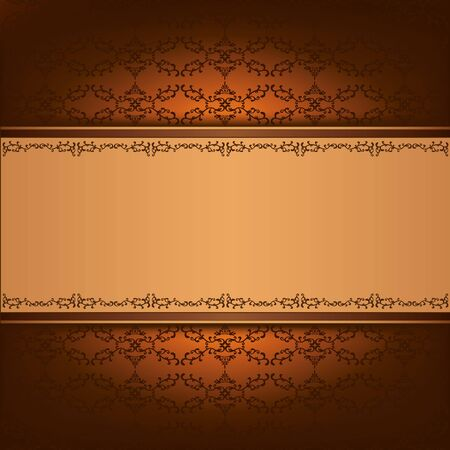 Luxury background golden - chocolate with pattern and decorative ornament in vintage or grunge style, place for text   Vector