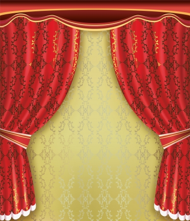 Luxury background  Red curtain with golden pattern and ornament  Place for text   Vector