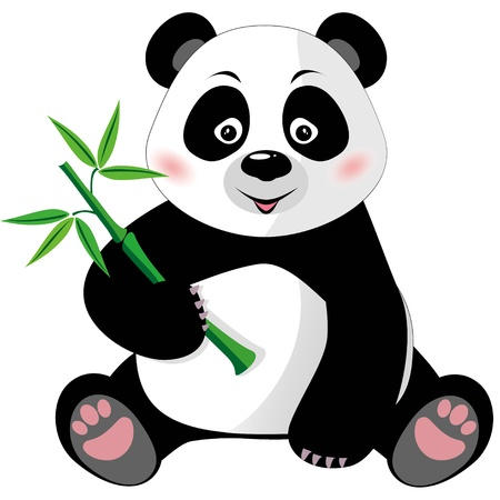 oso panda: Sentado pequeño panda lindo con bambú aisladas sobre fondo blanco, ilustración vectorial