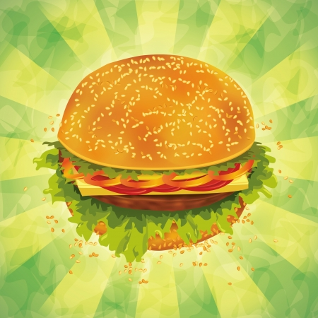 Tasty hamburger with tomato, pepper, cheese and ham on grunge background. Vector illustration. Illustration