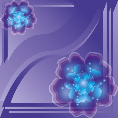 blue carpet: Floral background with blue-purple flowers and decorative lines. Greeting or invitation card. illustration Illustration