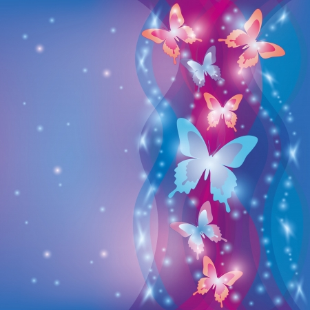 Colorful blue-purple background with butterflies, decorated waves and stars Illustration