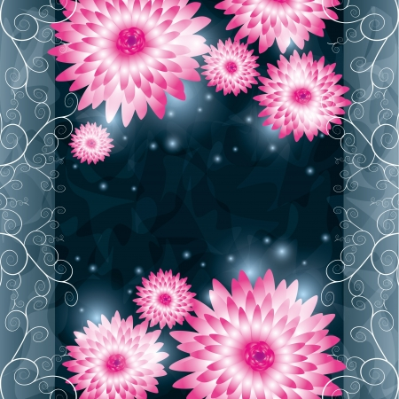 Floral background with pink flowers chrysanthemum and ornament. Greeting or invitation card in retro or grunge style. illustration Vector