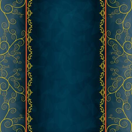 ブルー - 招待状やグリーティング カード、メニューのカバーのための灰色の背景。グランジまたはビンテージ スタイルの高級カード。図  イラスト・ベクター素材