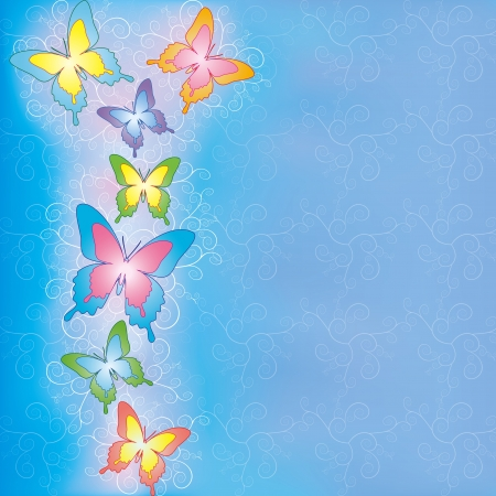 Blue background with butterflies, decorated light pattern and ornament Vector