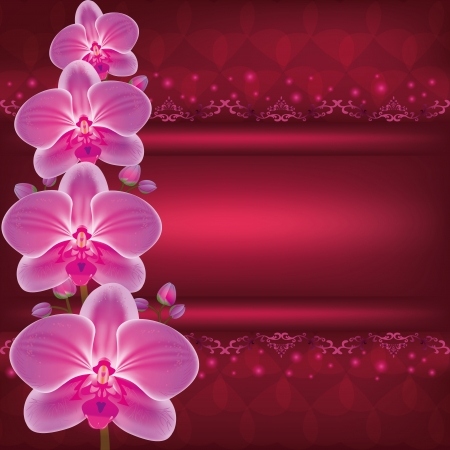 Invitation or greeting card with flower orchid, dark red glowing luxury background Vector
