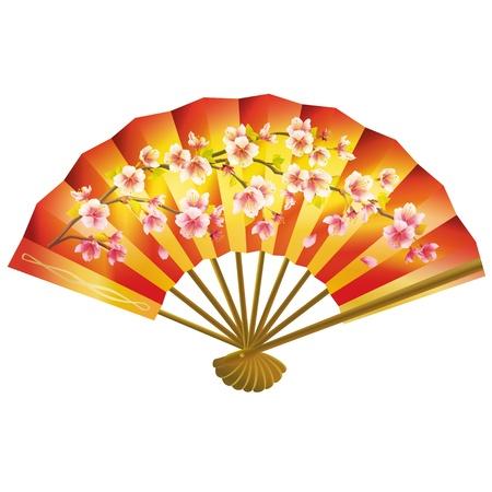 Colorful fan giapponese con il reticolo sakura fiore isolato su sfondo bianco. Illustrazione vettoriale