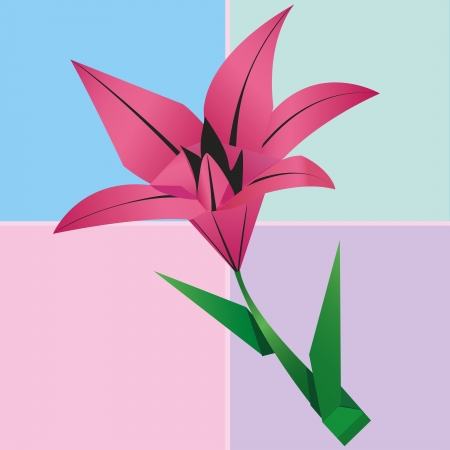 Origami lily flower card, colorful floral background. Invitation or greeting card. Vector illustration Vector