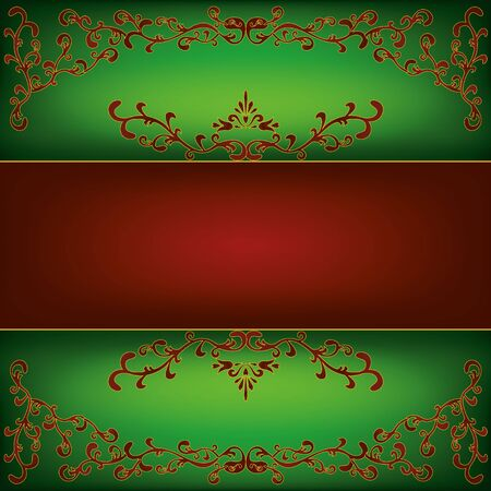 Luxury green background with decorative ornament in vintage or retro style, place for text. Vector illustration Vector