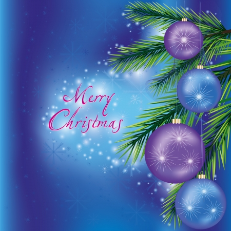 Blue Christmas and New Year background with fir-tree branch and Christmas decorations  Vector illustration Vector
