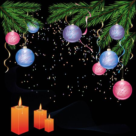 Christmas and New Year background with fir - tree, christmas balls and candles  Vector illustration Stock Vector - 16318923