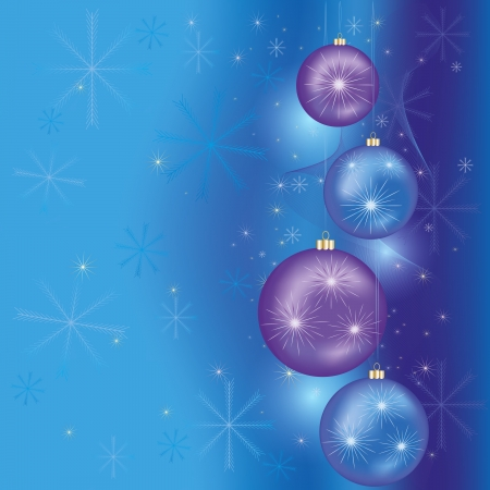 Blue Christmas and New Year background with Christmas decorations. Vector illustration Vector