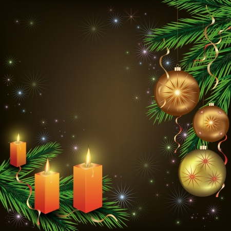 Bright celebratory New year and Christmas  card with christmas fir-tree,  christmas-tree balls and candles. Vector illustration.
