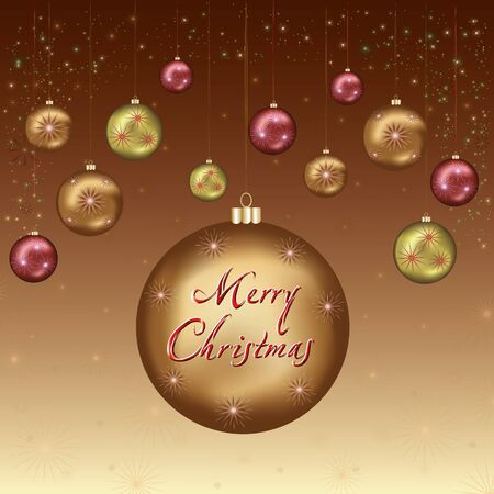 Golden - brown Christmas and New Year card with christmas balls, snowflakes and stars  Vector illustration Stock Vector - 16427992
