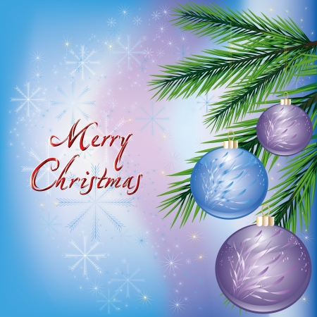 Bright New year and Christmas card  Christmas background with fir tree and balls  Vector illustration Vector