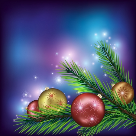 Colorful New Year and Christmas background with fir tree branch and christmas balls  Vector illustration Stock Vector - 16427990