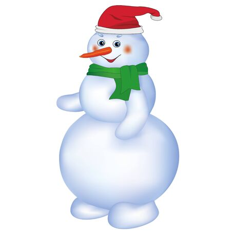 snowman isolated: Smiling cute Christmas snowman wearing Santa hat and green scarf, isolated on white background