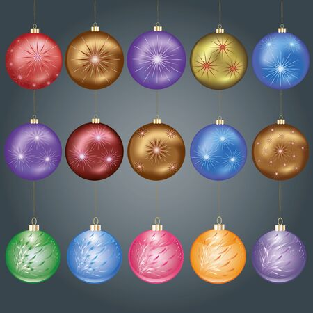 Set of different colorful Christmas balls, isolated on grey background Vector