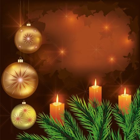 Vintage New year and Christmas card with christmas fir tree,  christmas balls and candles. Place for text. Vector illustration. Vector