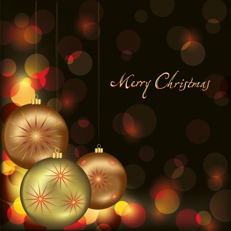 Beautiful celebratory Christmas and New Year background golden - black with christmas balls.  Vector