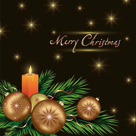 New year and Christmas card with christmas fir tree, christmas tree balls and candle. Stock Vector - 16662037
