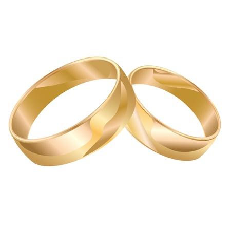 anillos de boda: Los anillos de bodas aislados en fondo blanco. Vectores