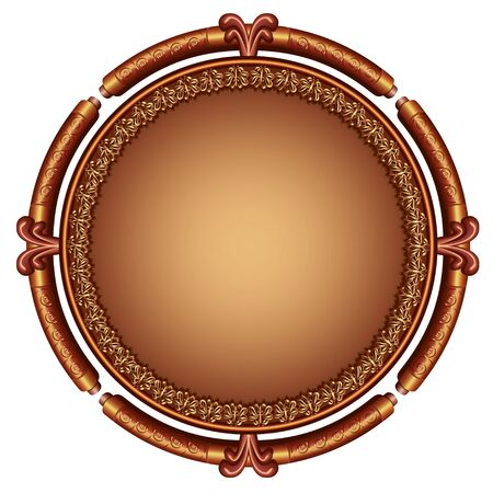 Luxurious decorative frame golden - brown with ornament in vintage style, isolated on white background, place for text. Vector illustration Stock Vector - 17192311