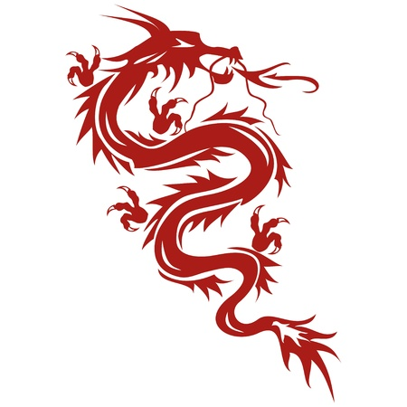 tribal dragon: Dragon - a symbol of oriental culture, isolated on white background. Dragon tattoo. Vector illustration