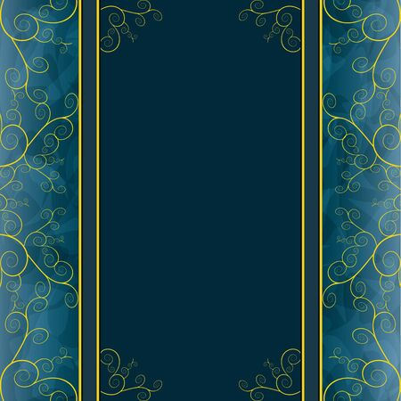 Vintage blue - golden background for greeting or invitation card Vector