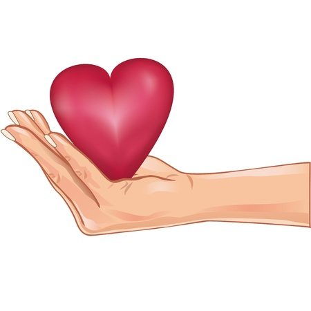 Hand holding a red heart, isolated on white background.  Vector