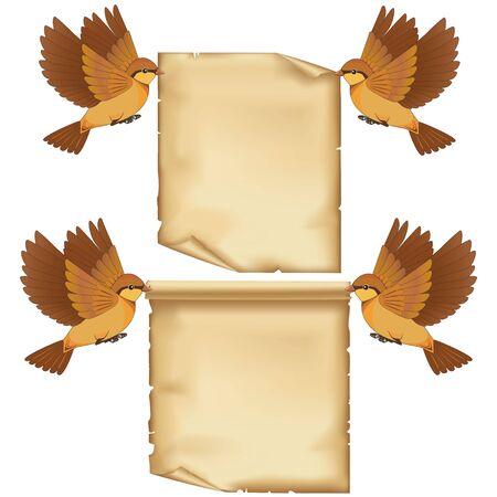 Conjunto de dibujos animados aves que vuelan con la hoja de papel, aislados en fondo blanco. Foto de archivo - 17244249