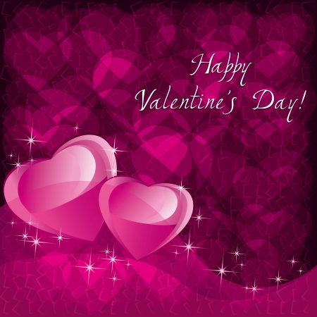 Love pink background for Valentines day with two hears and congratulation text Vector