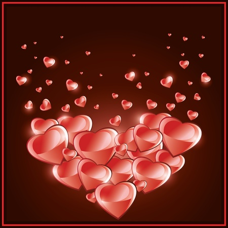 Valentines Day background, Love card with hearts rain   Vector