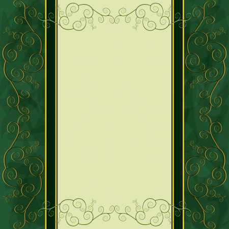 ヴィンテージ黄金 - メニューのカバー、招待状やグリーティング カードの緑の背景  イラスト・ベクター素材