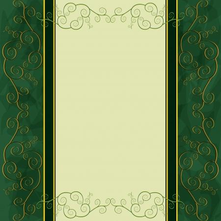 Vintage dourado - fundo verde para o menu, cobertura, convite ou cartão