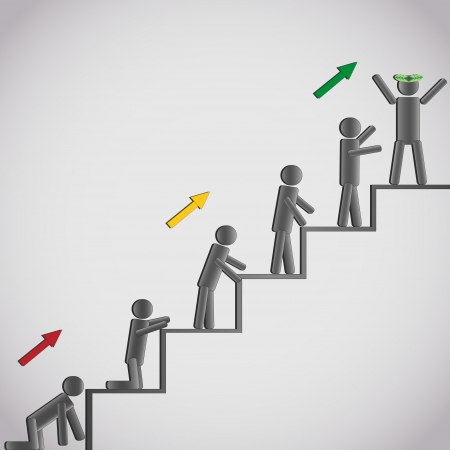 Business concept - icons of the men stepping up a staircase to glory and success