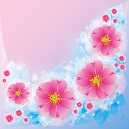 Light floral background with pink flowers  Invitation or greeting card in retro or grunge style   Vector