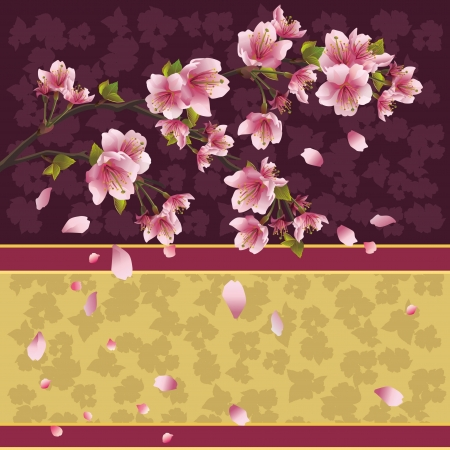asian gardening: Background with sakura blossom - Japanese cherry tree with flying petals, place for text, illustration Stock Photo