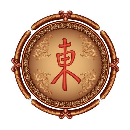 Luxuosa moldura decorativa japonesa de ouro - marrom com enfeite, drag